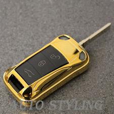 Gold Key Fob Cover Flip remoto caso RIVESTIMENTO BAG CASE 2 3 pulsante PORSCHE 44