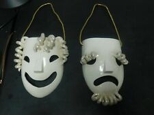 Ceramic white and glitter gold sad and happy clown faces wall hanging decor
