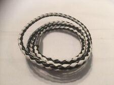 Uomo NERO / BIANCO Leather Cord RAP Braccialetto con Fibbia Argento tutti fatti a mano