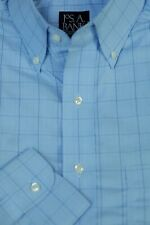 Jos A Bank Men's Traveler's Ligtht Blue CheckCotton Dress Shirt 15.5 x 32