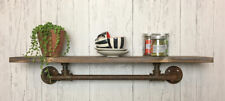 Urban Industrial Pipe Style Wall Shelf Wooden Unit Vintage Warehouse Kitchen New