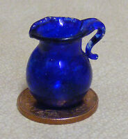 1:12 Scale Small Blue Glass Jug Dolls House Kitchen Drink Accessory G29a