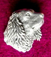 Lovely  Pewter Small Spaniels Dog Head  Pin Brooch