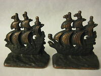 OLD VINTAGE SPANISH CLIPPER SAILING SHIP BRONZE CAST IRON METAL BOOKENDS