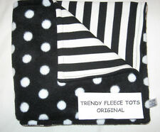 BABY BLANKET car seat crib moses BLACK WHITE POLKA DOTS & STRIPE reversible