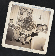 Vintage Antique Photograph Man & Woman  Christmas Tree - Retro Television Set TV