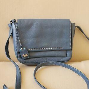 Radley Leather Small Blue Crossbody Pocket Purse Shoulder Bag