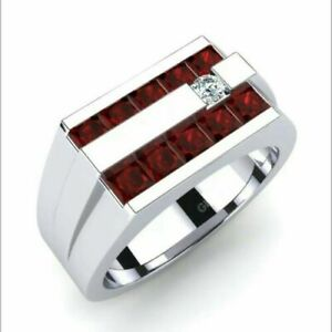 14K White Gold Natural Faceted Ruby & Diamond Mens Wedding Engagement ring