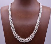 "18"" Italian Diamond Cut Graduated Byzantine Link Necklace Sterling Silver 925"