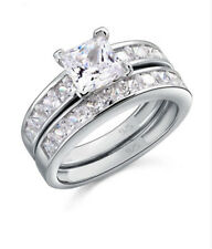 Fashion Women Silver White Sapphire Gemstone Wedding Proposal Ring Set Size 7