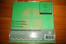 3X APERTURE CARDS GREEN WINDOW/ENVELOPES/PARCHMENT CARDS 12,5X12,5 CM NEW