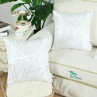 "2Pcs White Cushion Covers Pillow Case Sofa Decor Geometric Abstract Lines 16x16"""