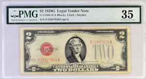 FR#1508 $2 1928 G LEGAL TENDER NOTE (EA BLOCK) 35 CHOICE VERY FINE