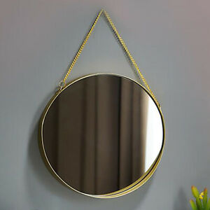Round Hanging Mirror Golden Decorative Geometry Wall Mounted Mirror with Chain