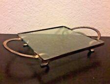 RARE Glass Silver Plated Hot Plate Trivet Stand Holder Maurice Duchin Inc. #846