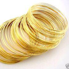 200 BOBINE placcato oro Memory Wire Bracciale Dia 55 mm gioielli