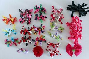 Gymboree Large Lot of 23 Hair Barrettes Curly Sets Pink Bow Flower Multicolor