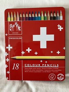 Caran d'Ache Swisscolor 18 Tin Set Water Soluble Colour Pencils Swiss Color NEW