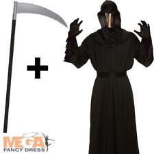 Mirrored Death Grim Reaper Robe + Scythe Mens Fancy Dress Halloween Costume New