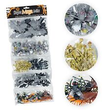 100 PCS Halloween Mega Mix Plastic Toy Bats Insects Bugs Rats Skeletons Monsters