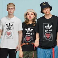 GENUINE ADIDAS ORIGINALS VALENTINES DAY HEART TREFOIL SPORTY LONG T-SHIRT TOP SM
