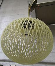 Vintage Mid-Century Modern Sparkled Fiberglass Webbed Orb Pendant Light
