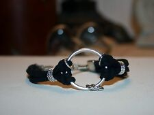 Boho Chic Faux Suede Bracelet of Central Split Ring and Tibetan Silver Wreaths