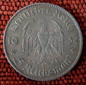 Germany Nazi 5 Reichsmark Church Swastika 1934 F .900 Silver Lot  345