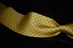 NWT Salvatore Ferragamo Made Italy 100% Silk Tie Gold Blue Falena Honeybee #12