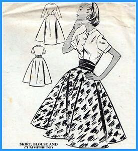 """Vintage 50s FULL CIRCLE SKIRT Cummerbund BLOUSE Sewing Pattern Bust 32"""" RETRO"""