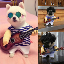 Cool Costume Guitar Player Clothes For Pet Dog Cat Halloween XMAS Cosplay Outfit