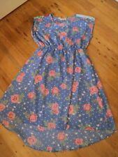 peace angel blue polka dot roses floral print dress dip hem XL