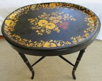VINTAGE HANDPAINTED TOLE TRAY TABLE FOLK ART BAMBOO GOLD GILT CHIPPENDALE METAL