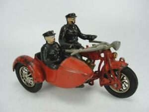 1920's HUBLEY CAST IRON LARGE POLICE INDIAN MOTORCYCLE W/ SIDE CAR TOY ORIGINAL