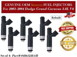 6 Fuel Injectors OEM Siemens for 2003-2004 Dodge Grand Caravan 3.8L V6