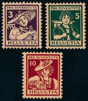 SCHWEIZ 1916, MiNr. 130-132, 130-32, tadellos postfrisch, Mi. 190,-