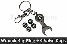 Peugeot Spanner Wrench Key Ring Chain Keyring + 4 Tyre Tire Valve Caps /1109