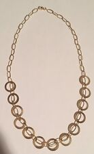 Women's 14K Yellow Gold Double Link & Ring Chain Necklace 18""