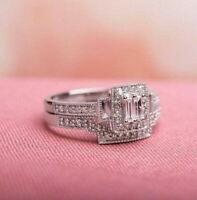 Halo Bridal Ring Set Engagement Wedding Ring 2.9 Ct Diamond 14K White Gold Solid