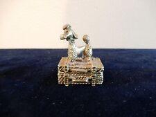 Vintage Goldtone Poodle on Traveling Trunk Pillbox