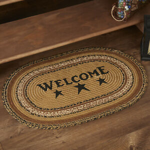 """VHC Brands Primitive 20""""x30"""" Welcome Accent Rug Tan Stenciled Kettle Floor Decor"""