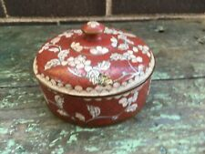 Antique vintage beautiful Chinese Cloisonne Red and White Lidded Round Box China