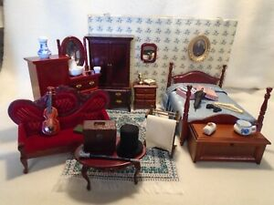 DOLLS HOUSE FURNITURE MIXED LOT GENTLEMAN'S BEDROOM & 20 ACCESSORIES 12TH SCALE