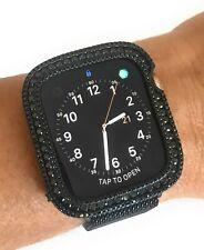 Bling apple watch Series 4 S4 bezel Face case cover Zirconia Diamond Black 44mm