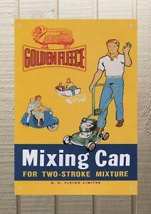 Golden Fleece Mixing Can Petrol Oil Man Cave Metal A2 594x420 Sign