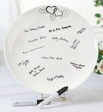 Round Silver Heart Guest Signing Plate + 2 Pens Wedding Guest Book Alternative