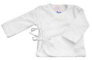 Baby Jay 100% Cotton White Long Sleeve Wrap Shirt Boy Girl 0-3-6-12 Month 333508