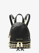 Michael Kors Rhea Mini Studded Leather Backpack Convertible Black & Bag +wallet