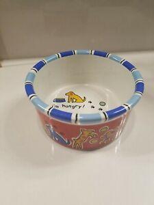 "Signature Small Dog Dish Pet Bowl 4"" Heavy Stoneware ""I'm Hungry"" Colorful Cute"