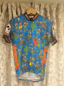 """RARE - SALSA Cycles Jersey """"Day of the Dead"""" Bike Shirt - SMALL Club Set-In -euc"""